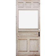 "Reclaimed 40"" Antique Door with Beveled Glass, Early 1900s"