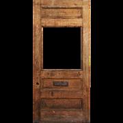 """Salvaged 40"""" Antique Tiger Oak Door, Early 1900s"""