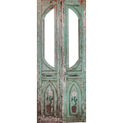 Reclaimed Pair of Antique Double Doors with Flowers