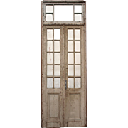 Salvaged Pair of Antique Doors with Transom