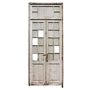 "Salvaged Pair of Antique 45"" Doors with Transom"