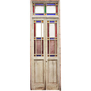 Reclaimed Pair of Antique Stained Glass Doors with Transom