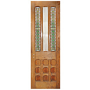 Salvaged Antique Stained Glass Door with Cross, 19th Century