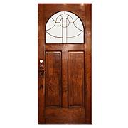 """Salvaged Antique 36"""" Door, Beveled & Leaded Glass Window"""