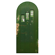 """Salvaged 36"""" Arched Plank Door, Leaded Glass Windows"""