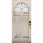 "Salvaged Antique 36"" Door with Leaded & Beveled Window"