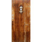 """Reclaimed 36"""" Plank Door with Stained Glass Speakeasy"""