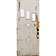"""Salvaged 34"""" Plank Door with Beveled Glass"""
