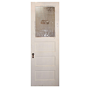 """Salvaged 28"""" Door with Privacy Glass, Early 1900s"""