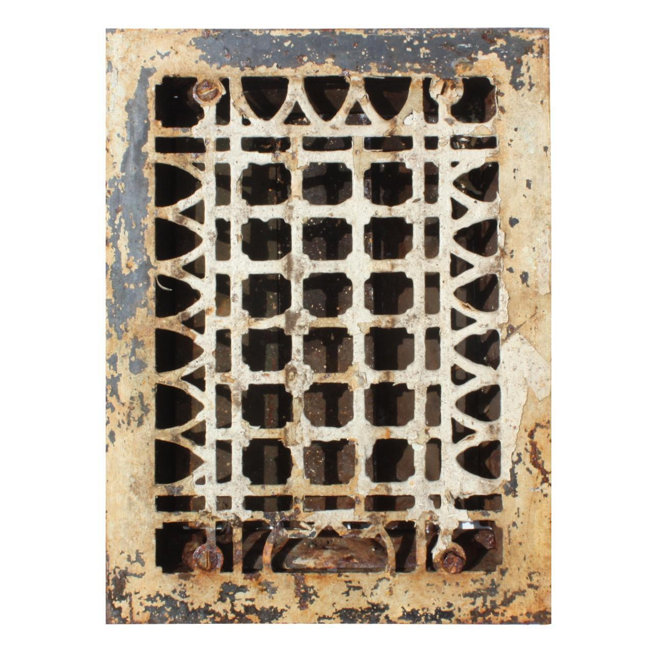 Geometric Antique Cast Iron Heat Register, Early 1900s