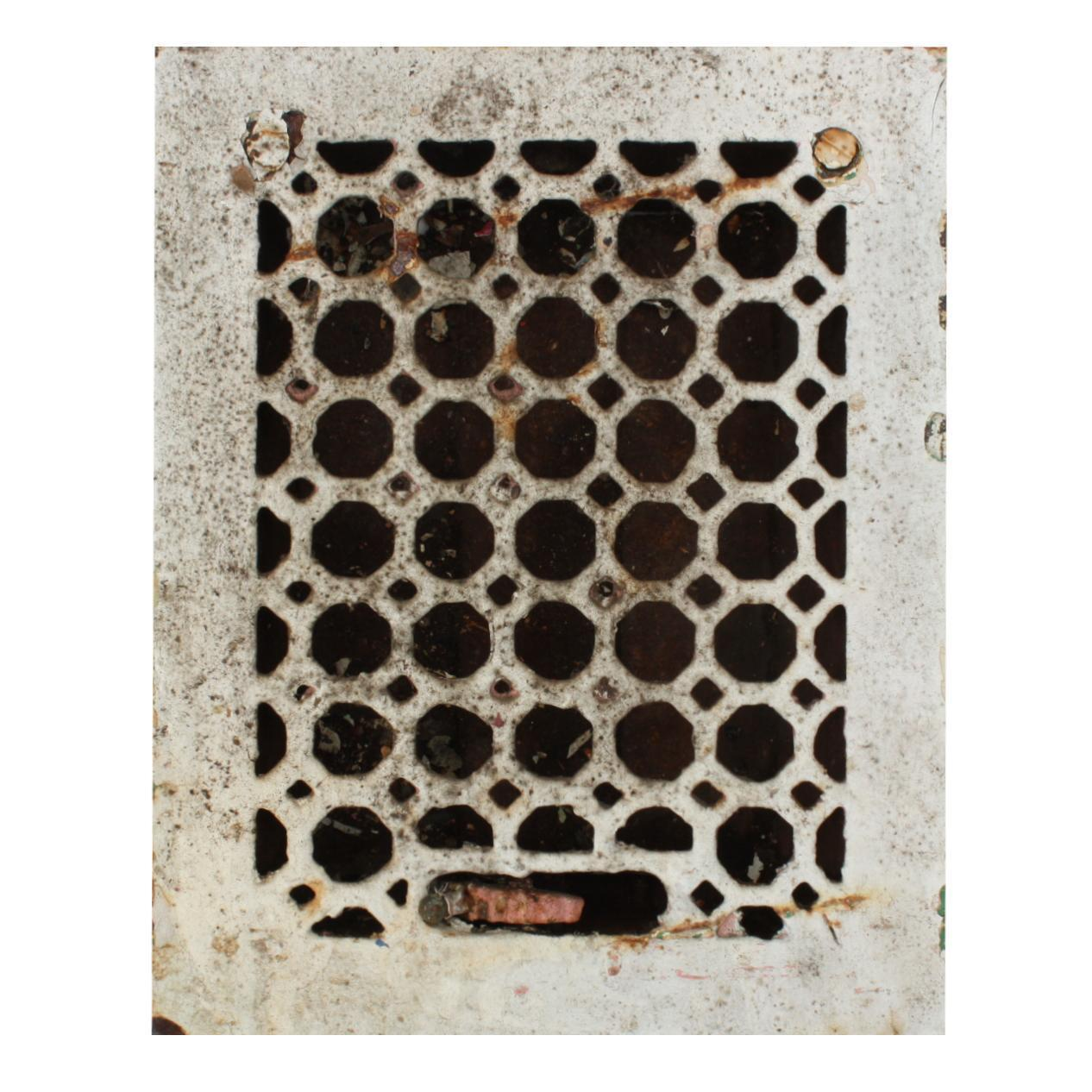 Antique Cast Iron Heat Register, Honeycomb Pattern