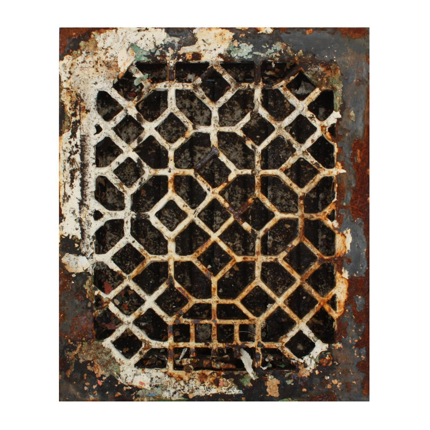Antique Cast Iron Heat Register, Geometric Pattern