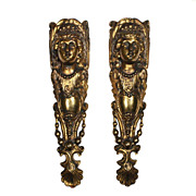 Antique Figural Ormolu Furniture Mount Pair, Athena, c. 19th Century