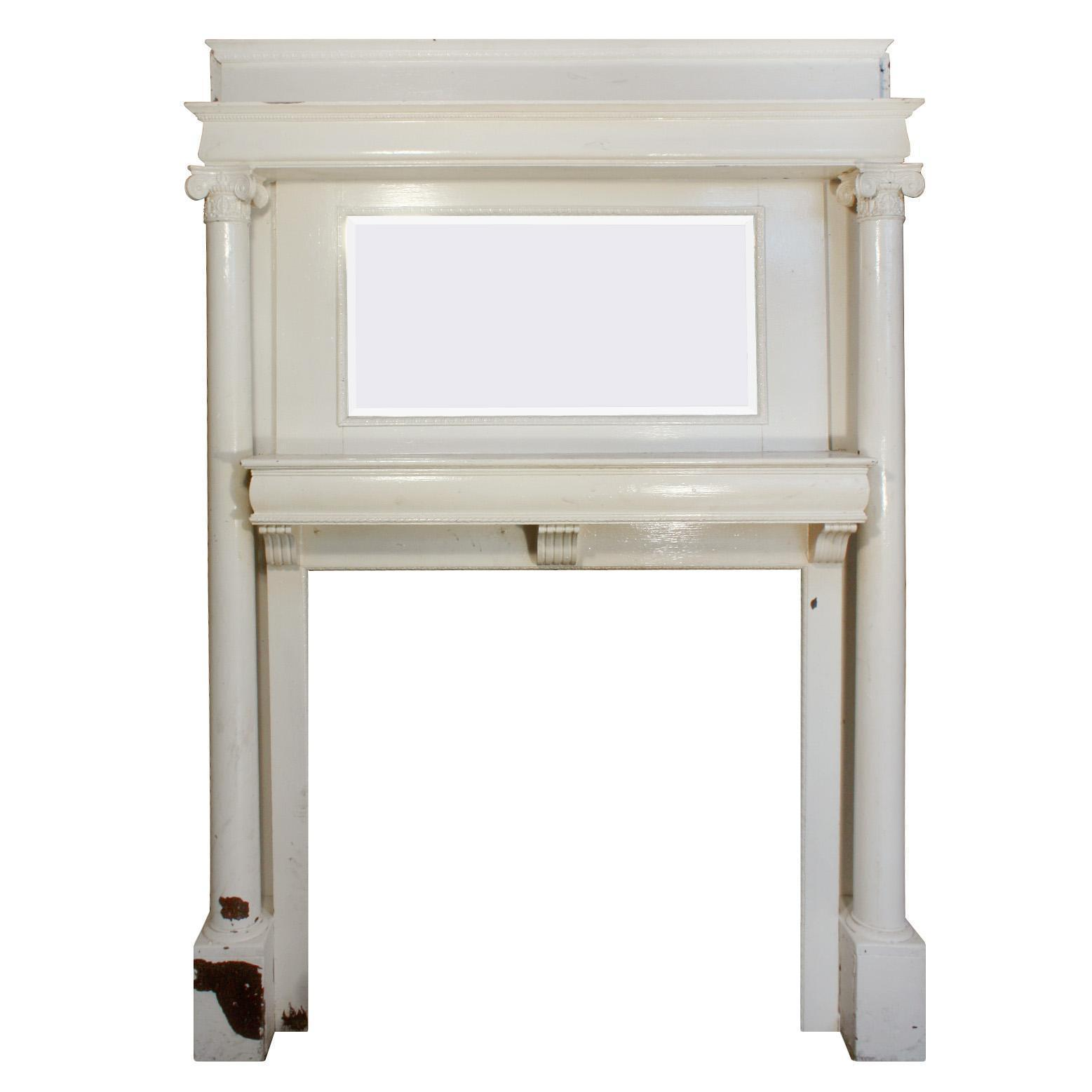 Reclaimed Antique Mantel with Beveled Mirror,  Early 1900's