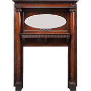 Antique Quarter Sawn Oak Fireplace Mantel with Oval Mirror