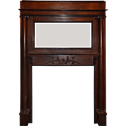 Antique Quarter Sawn Oak Fireplace Mantel with Beveled Mirror