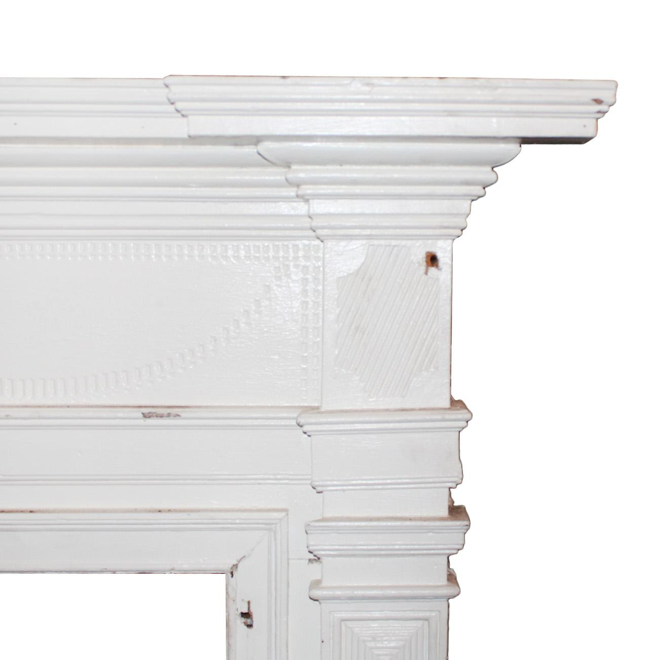 Reclaimed Antique Carved Federal Fireplace Mantel C 1820s