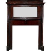 Antique Quarter Sawn Oak Fireplace Mantel with Beveled Mirror