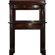 Antique Quarter Sawn Oak Fireplace Mantel with Beveled Mirror, c. 1905