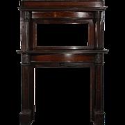 Antique Quarter Sawn Oak Fireplace Mantel with Beveled Mirror, c. 1905