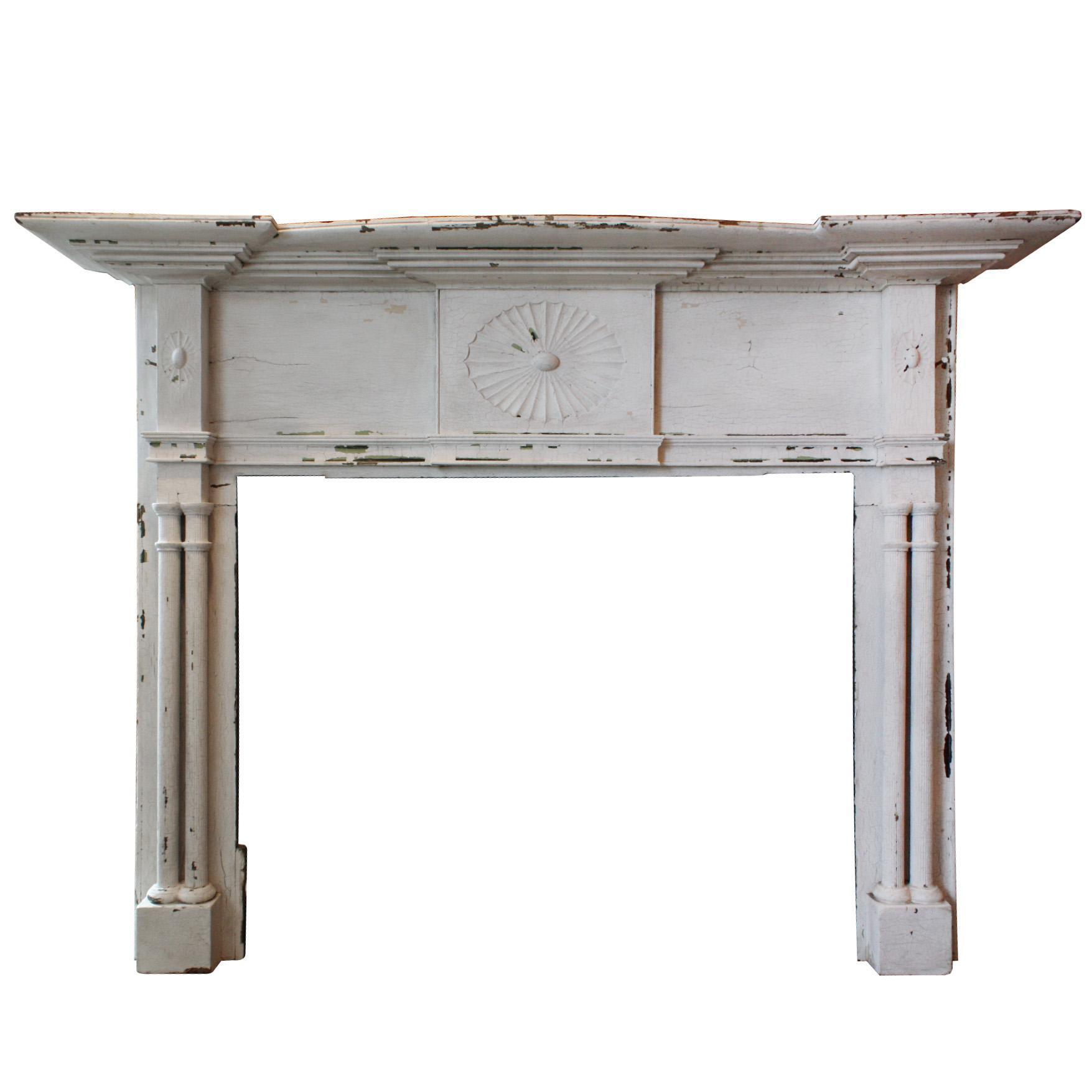 Reclaimed Antique Poplar Federal Fireplace Mantel, c.1820s