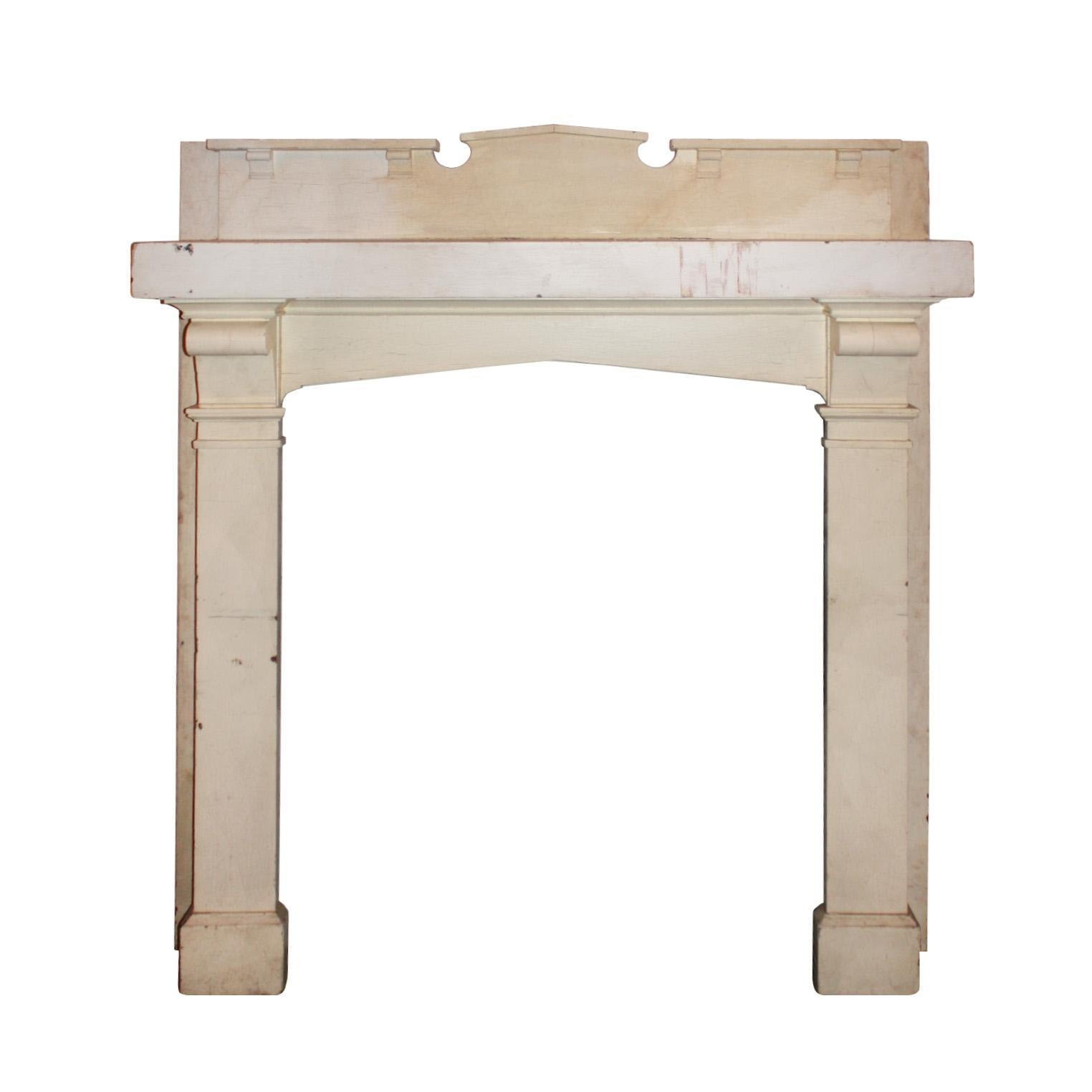 Antique Oak Fireplace Mantel with Triangular Arched Opening