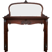 Antique Neoclassical Mahogany Mantel with Beveled Mirror