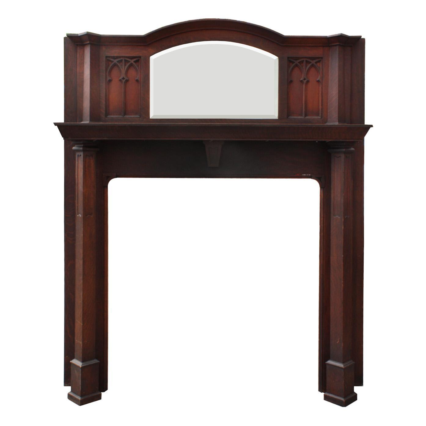 Antique gothic revival oak fireplace mantel with beveled for Mantel mirrors