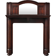antique gothic revival oak fireplace mantel with beveled mirror - Antique Fireplace Mantels