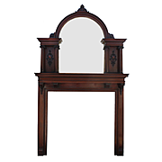 Antique Neoclassical Mantel with Arched Mirror