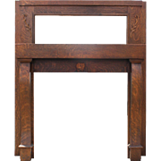 Reclaimed Antique Oak Fireplace Mantel with Beveled Mirror