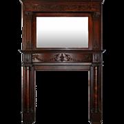 Antique Adam Style Mantel with Beveled Mirror, Quarter-Sawn Oak, c.1900