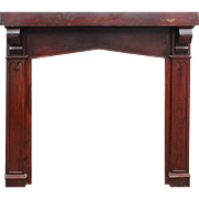 Antique Tudor Fireplace Mantel in Oak, Triangular Arch Opening
