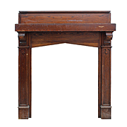 Antique Tudor Fireplace Mantel with Triangular Arch Opening, Oak