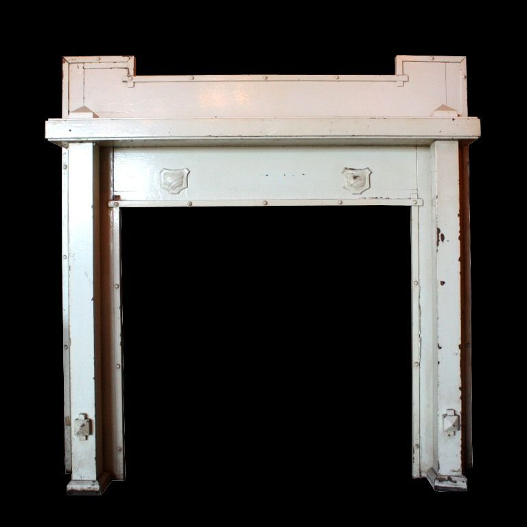 Fabulous Antique Arts & Crafts Mantel with Shields, Early 1900s
