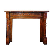 Remarkable Antique Decorative Walnut Fireplace Mantel, c. 1880