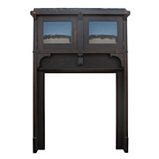 Outstanding Antique Arts & Crafts Bookcase Mantel with Cabinets, c. 1910