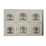 """Antique Tile with Seashell Design, 6"""" x 6"""", 19th Century"""