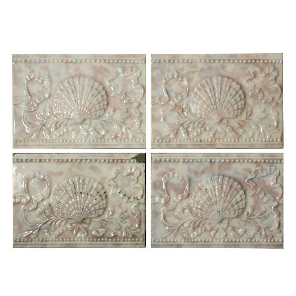 "Antique Tile with Seashell Design, 6"" x 4 ¼"", Old Bridge Tile Co."