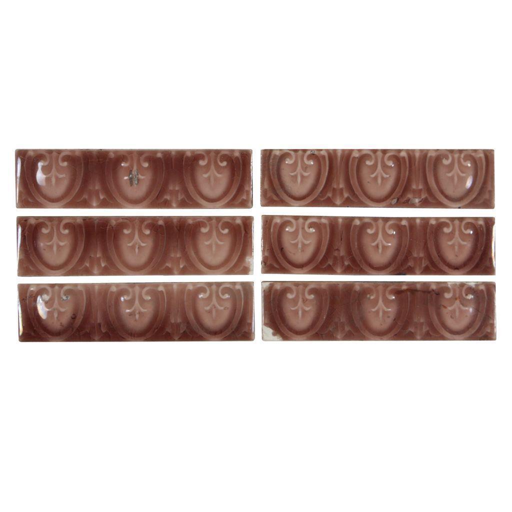 "Antique Tiles with Neoclassical Design, Old Bridge Tile Co., 4 ¼"" x 1 """