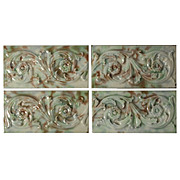 "Antique Tiles with Foliage Design, Old Bridge Tile Co., 6"" x 3"""