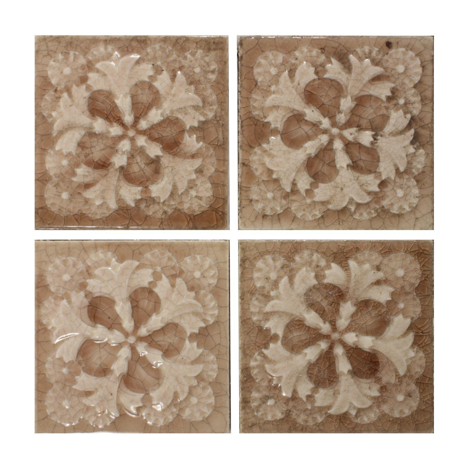 """Antique Tile with Stylized Floral Design, 6"""" x 6"""", Providential Tile Co."""