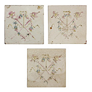 "Marvelous Antique Tiles with Torches, 6"" x 6"""