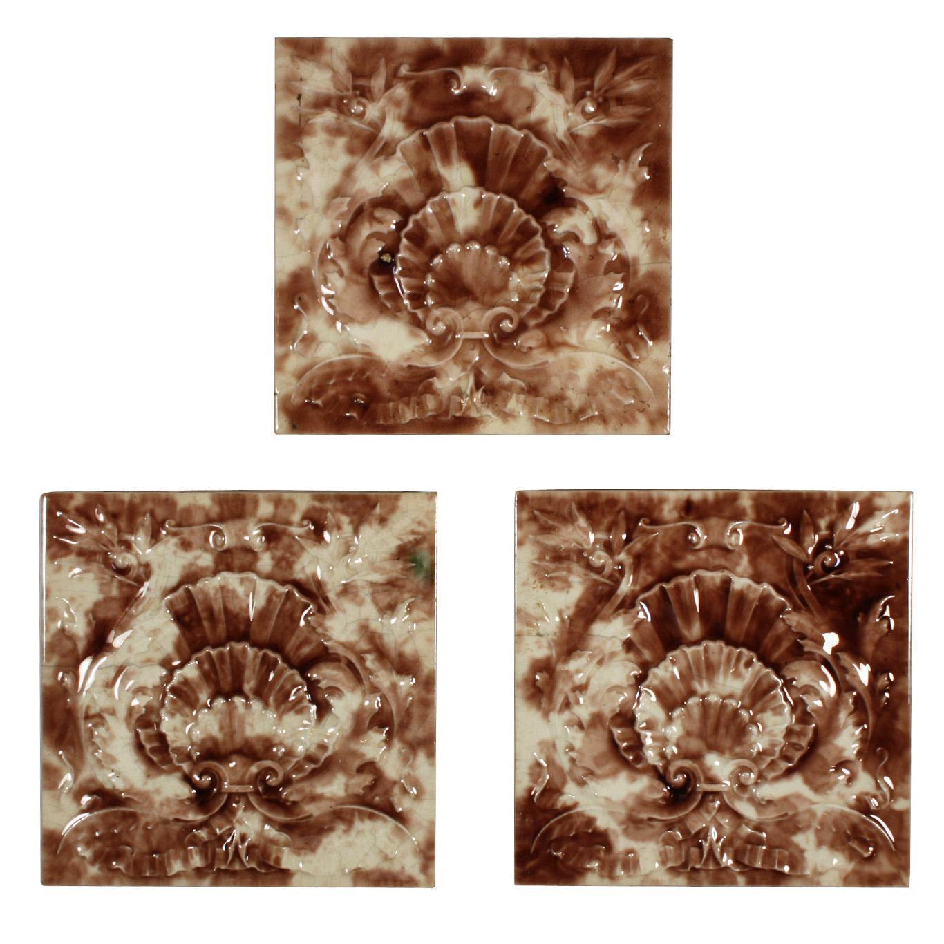 "Antique Tile with Seashell Design, 6"" x 6"", Cambridge Tile Co."
