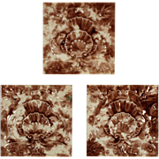 "Antique Tile with Seashell Design, 6"" x 6"", Cambridge Tile Co."