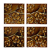 """Wonderful Antique Tiles with Dogwood Flowers, 6"""" x 6"""", Columbia Tile Co."""