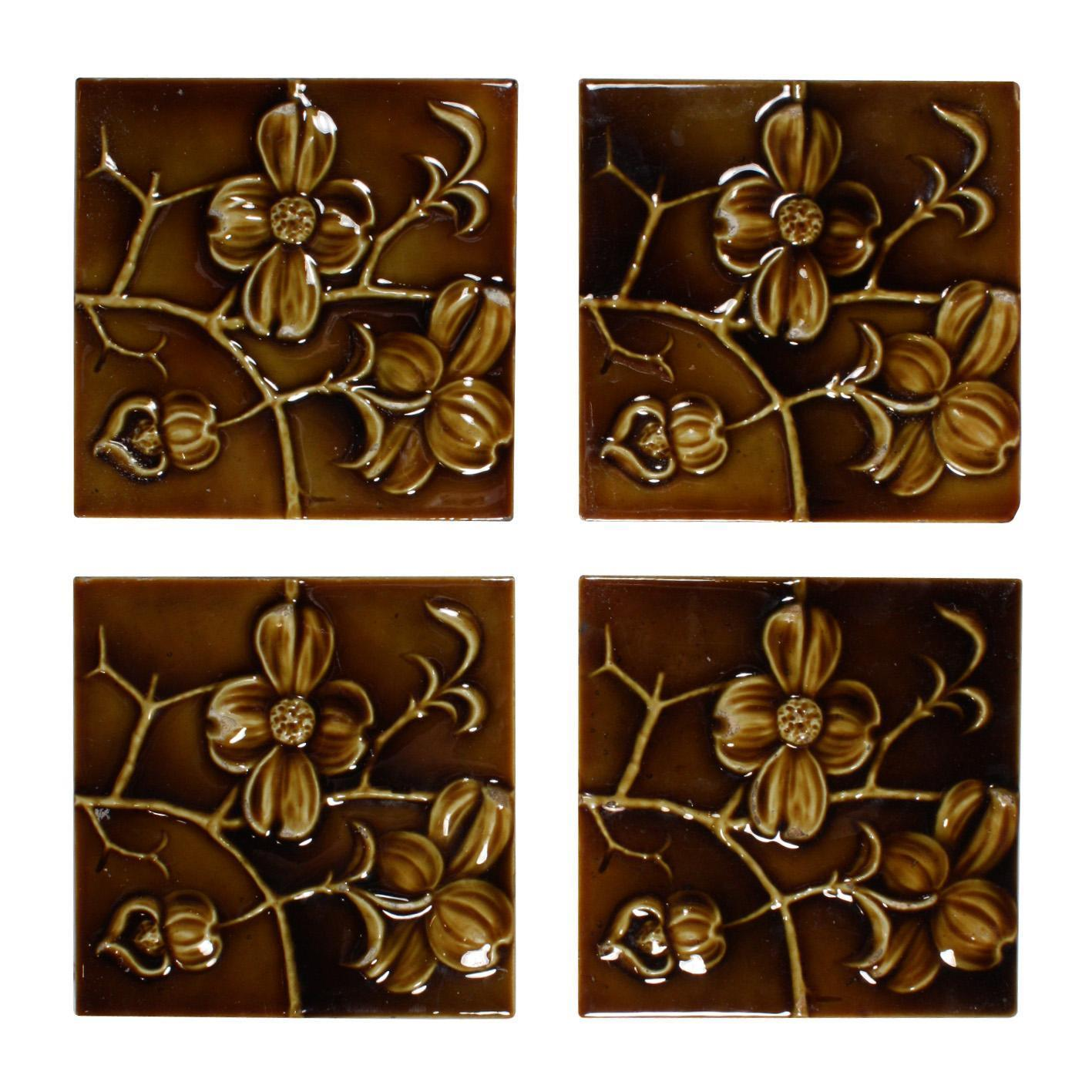 """Delightful Antique Tiles with Dogwood Flowers, 6"""" x 6"""", Columbia Tile Co."""