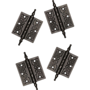 """Two Matching Pairs of Antique Cast Iron 3.5"""" Hinges with Geometric Design, c. 1870"""