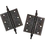 "Beautiful Pair of Antique Cast Iron 4"" Hinges, 19th Century"