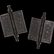 """Antique Pair of Cast Iron Eastlake 3.5"""" Hinges, 19th Century"""